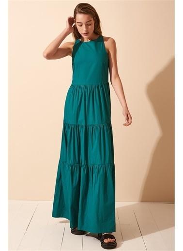 Never More Parçalı Sıfır Kol Uzun Elbise Yeşil
